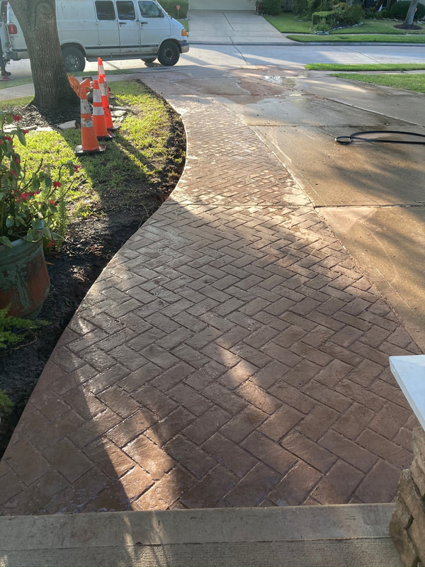 stamped and stained concrete walkway